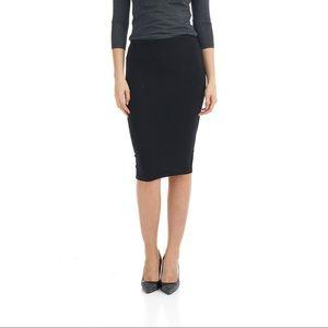 H&M Black Cotton Stretchy Waistband Pencil Skirt